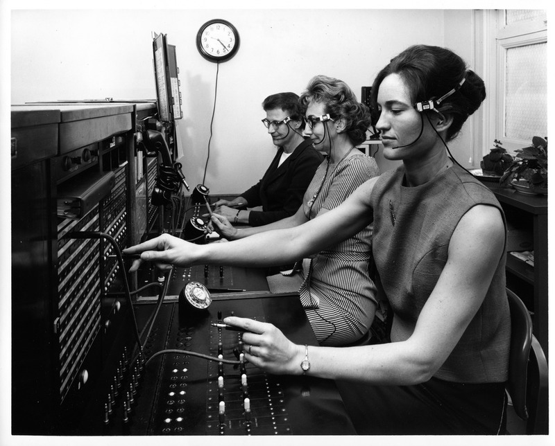 Three Females Operating the San Jose City Hall's Switchboard Telephone System