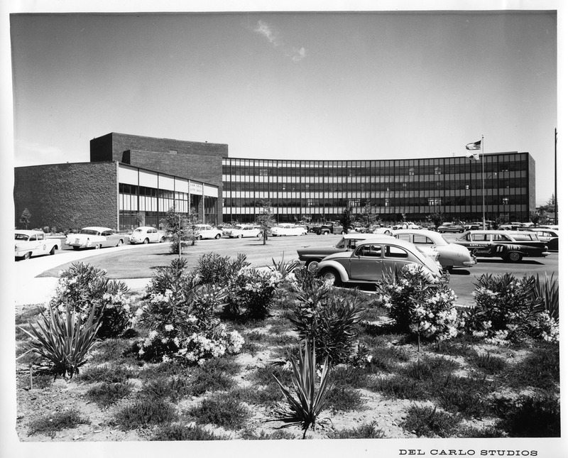 View of the 1958-2005 San Jose City Hall Building and Parking Lot