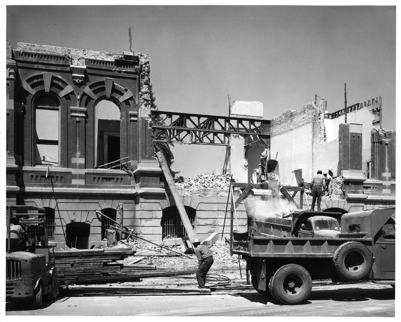 View of Workers Demolishing the Old San Jose City Hall Building