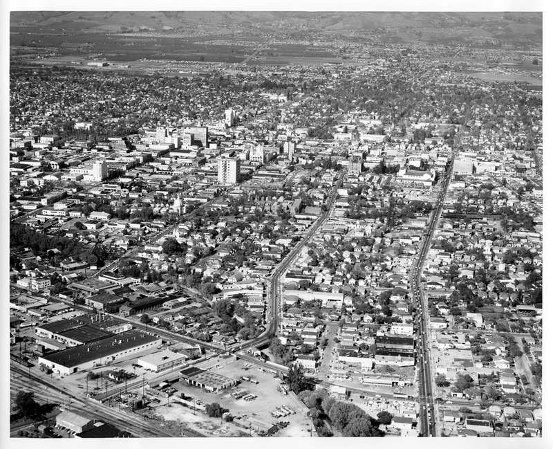 Aerial View of Downtown San Jose, California with Old City Hall Building